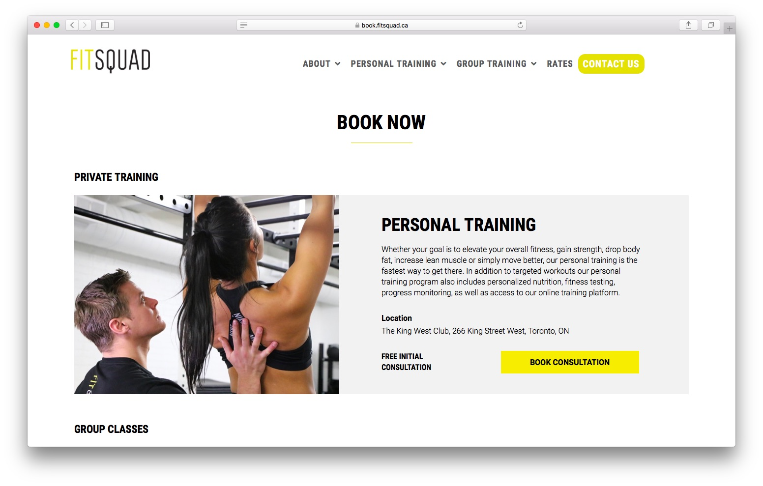 FitSquad Booking